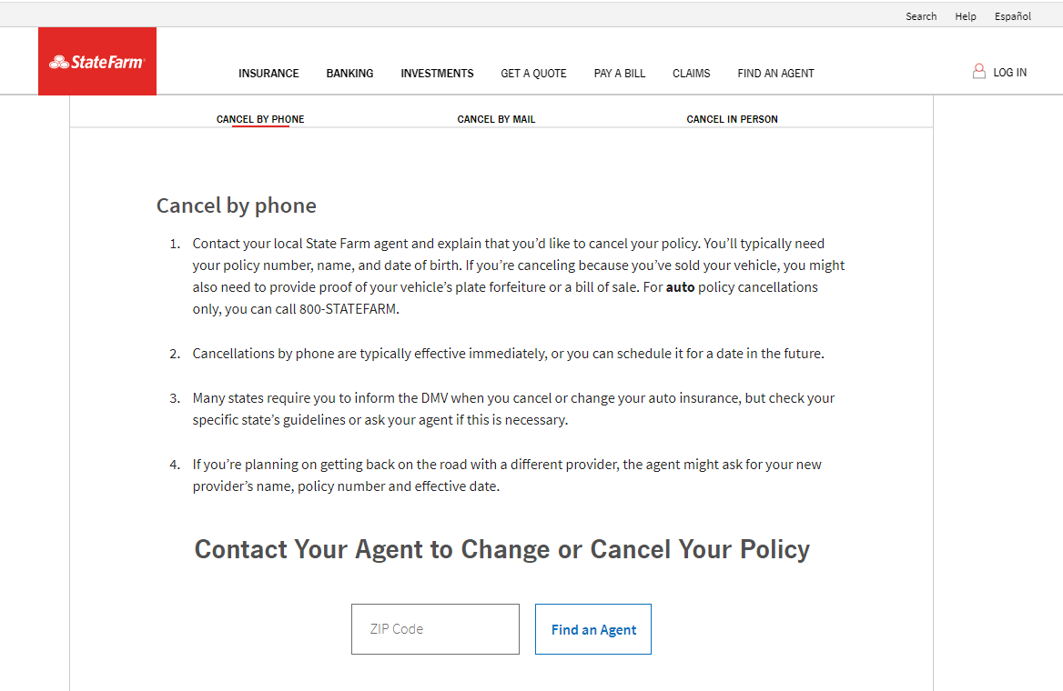 State Farm Website Cancel by Phone Page