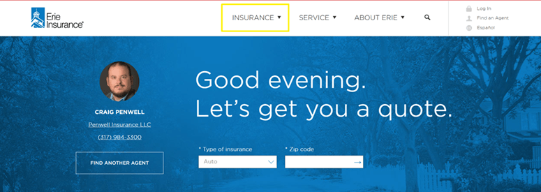 Erie Insurance Website Home Page