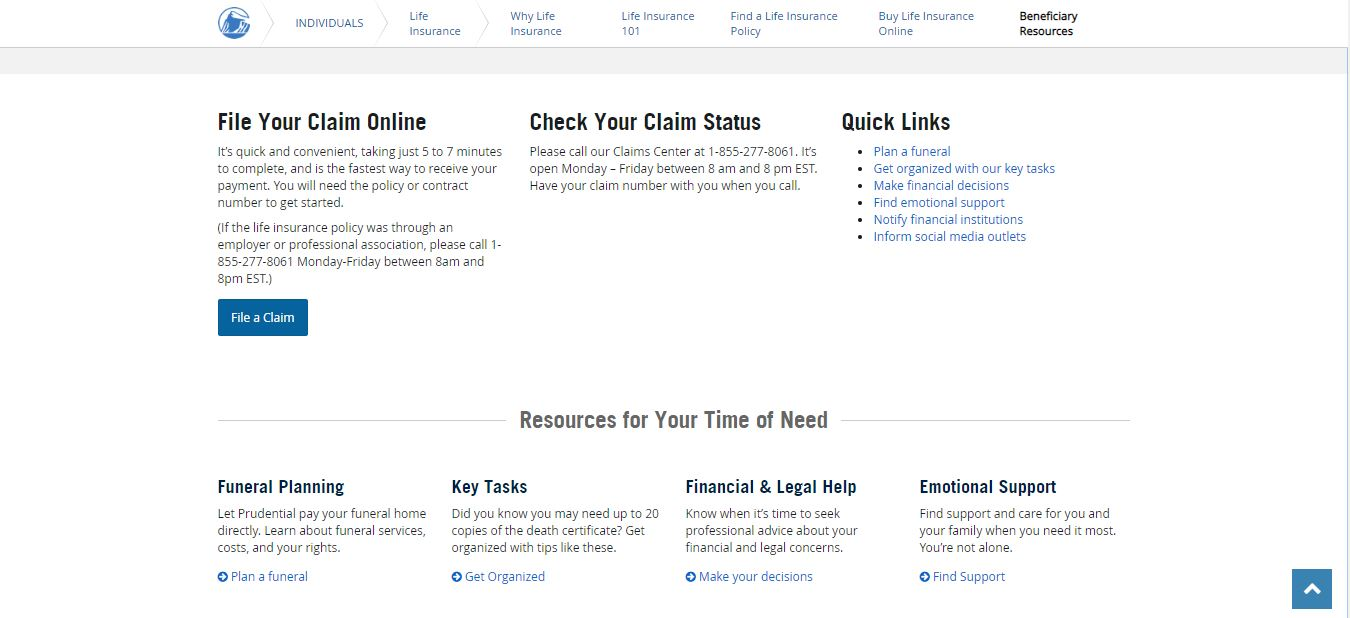 Prudential website beneficiary resource page.