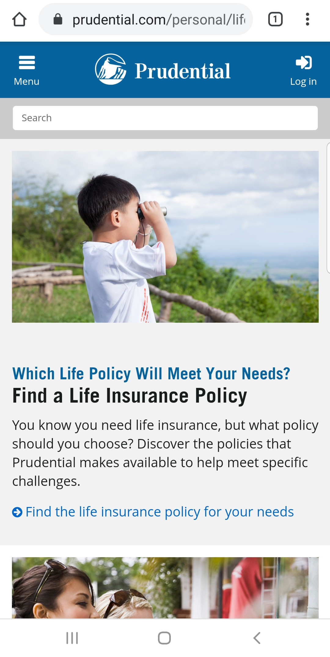 Prudential mobile homepage.