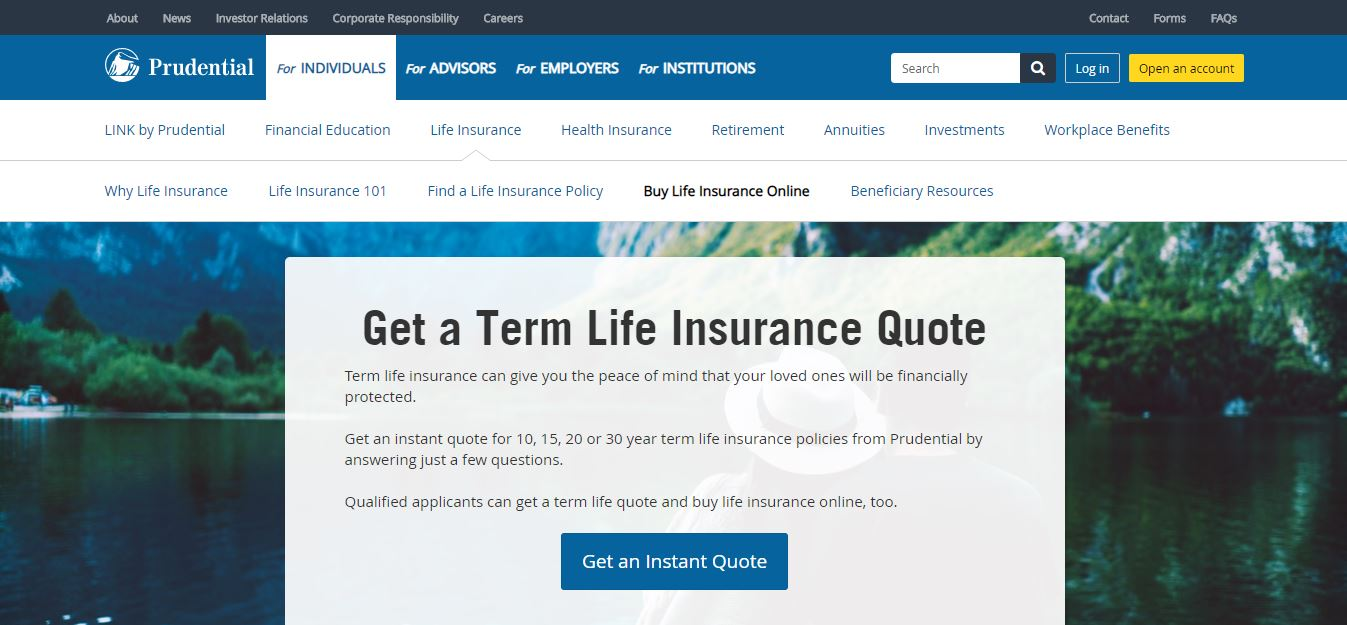 Prudential website Get an Instant Quote screen.