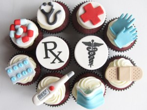 cupcakes decorated with pills, thermometer, gloves, mask, bandaids, Rx for nurses and doctor appreciation
