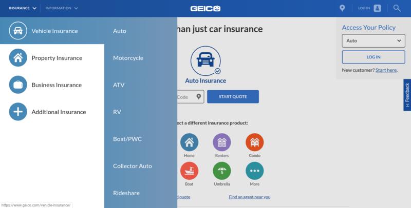 Geico Home Page Auto Insurance Menu