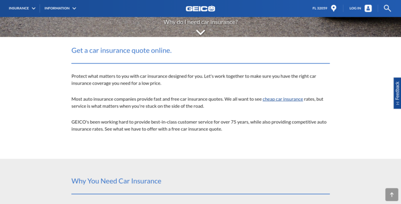 Geico Auto Insurance Page Pulled Down