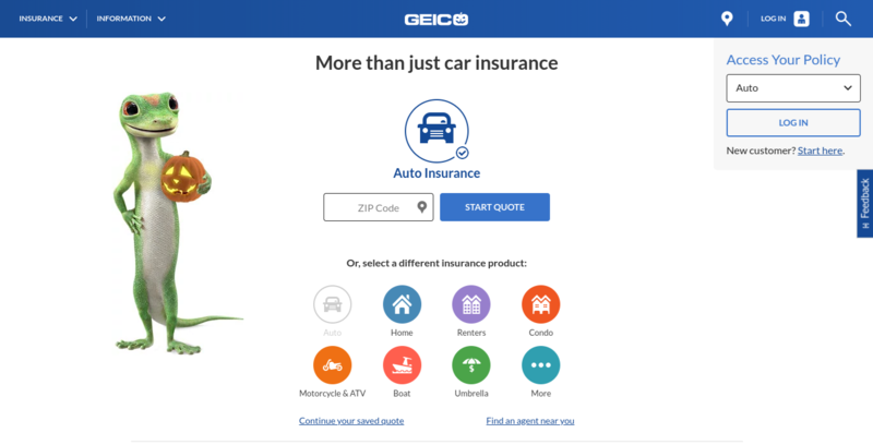 Geico Insurance Home Page