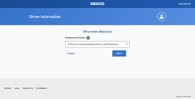 Geico Get a Quote Employment Status