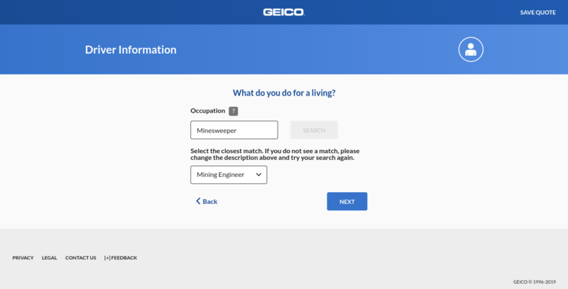 Geico Get a Quote Occupation