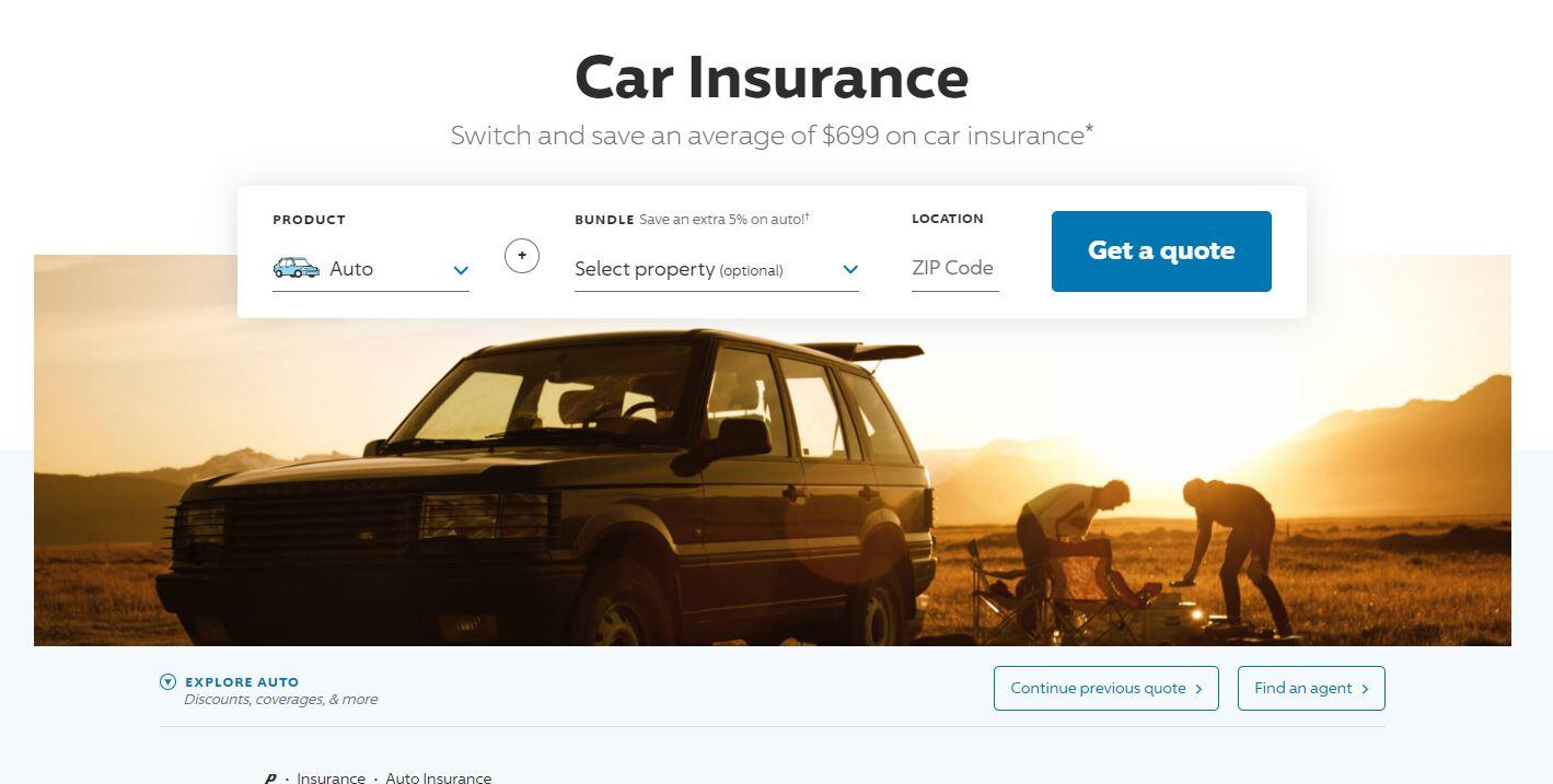 Progressive auto insurance quote page