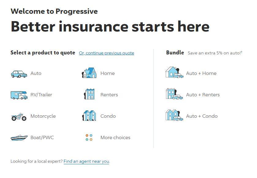 Progressive website select quote type