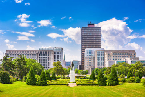Baton Rouge, Louisiana skyline from Louisiana State Capitol with blue sky