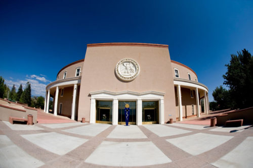 State Capital Building in Santa Fe, New Mexico with blue sky