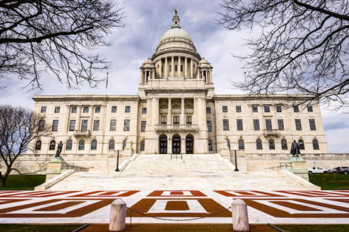 Rhode Island State House in Providence, Rhode Island during winter with gray sky
