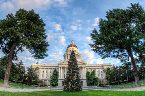Capital Christmas tree in front of the California State Capitol building in Sacramento, California.