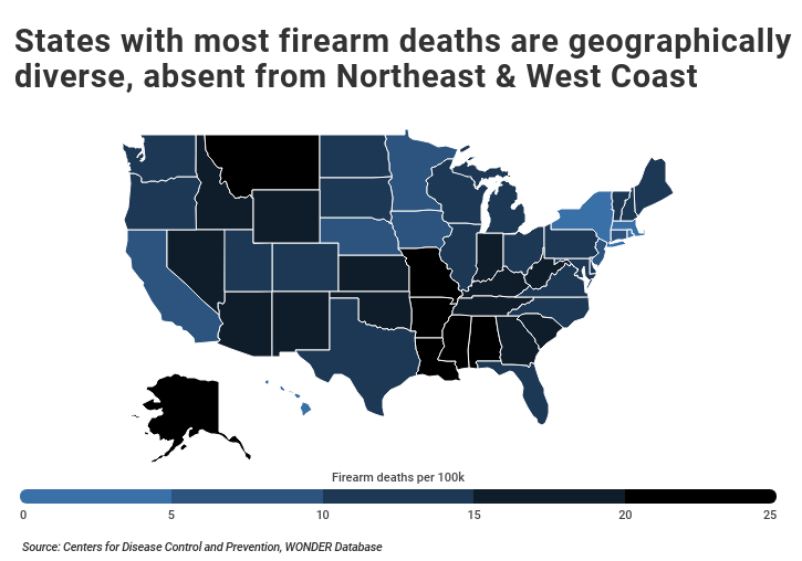 Geographic firearm fatalities by state with the most deaths