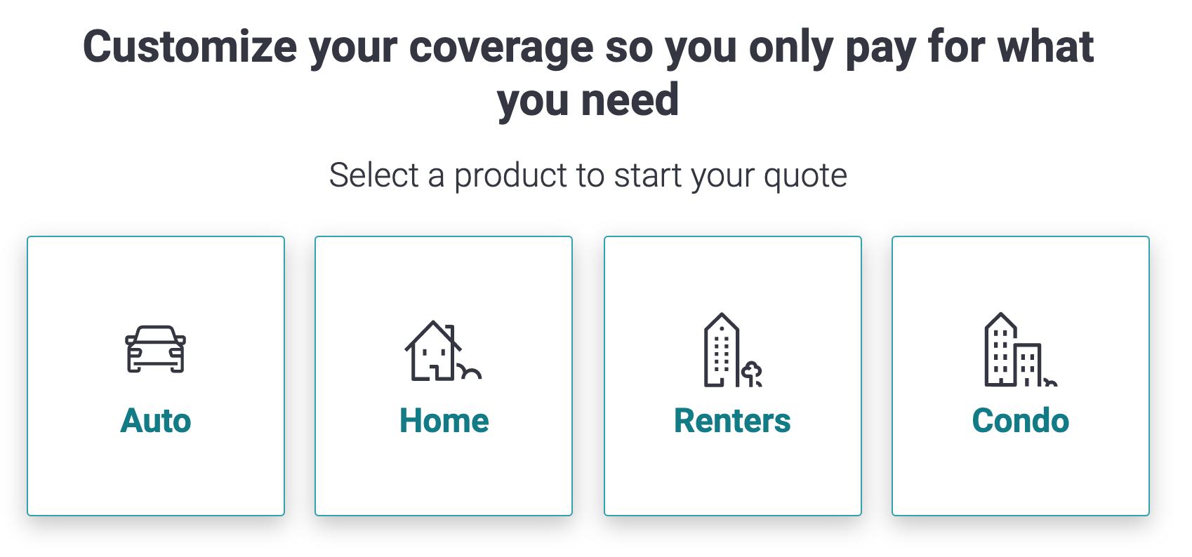 Liberty Mutual product selection screen