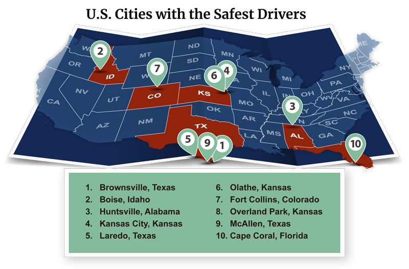 U.S. Cities with Safest Drivers