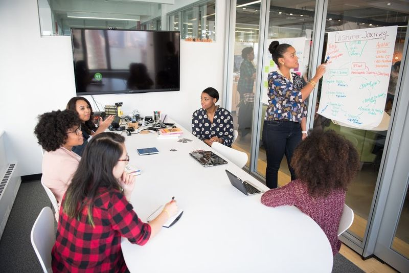 teamwork meeting room, white desk, whiteboard, team, meeting, teamwork, plaid shirt, purple sweater, blue shirt