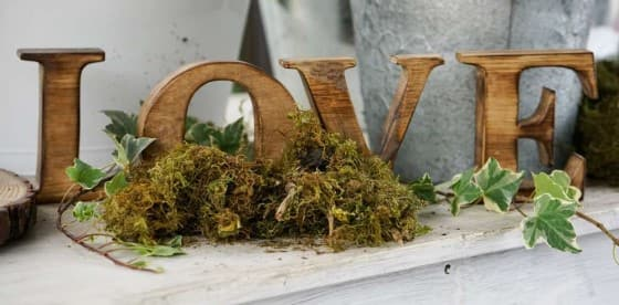 love sign in wood