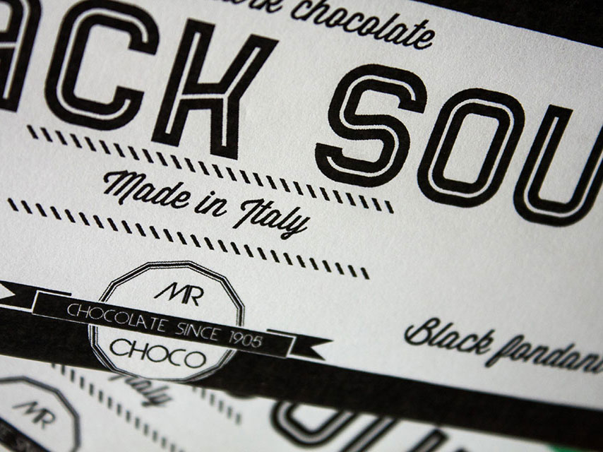 Black Soul Chocolate naming, logo e grafica packaging