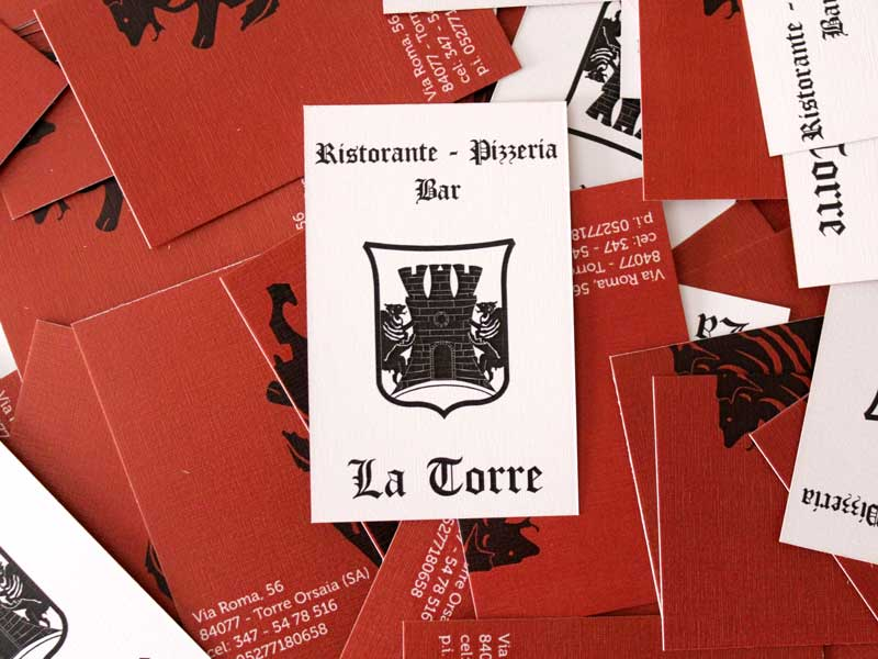 Grafica e stampa bigliettini da visita La Torre - Ristorante Pizzeria Pub