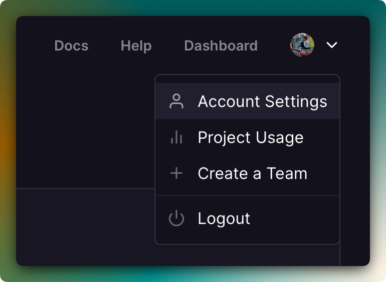 Screenshot of Account Navigation
