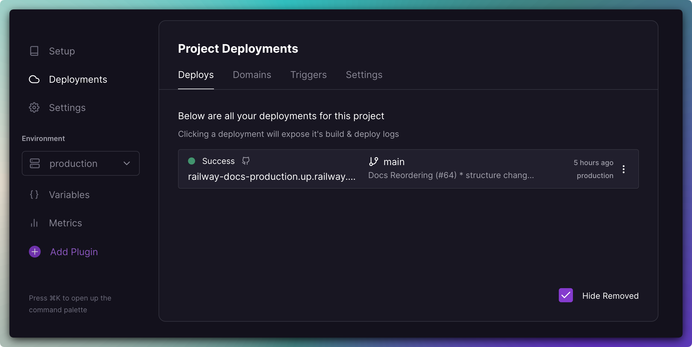 Screenshot of Deploy View