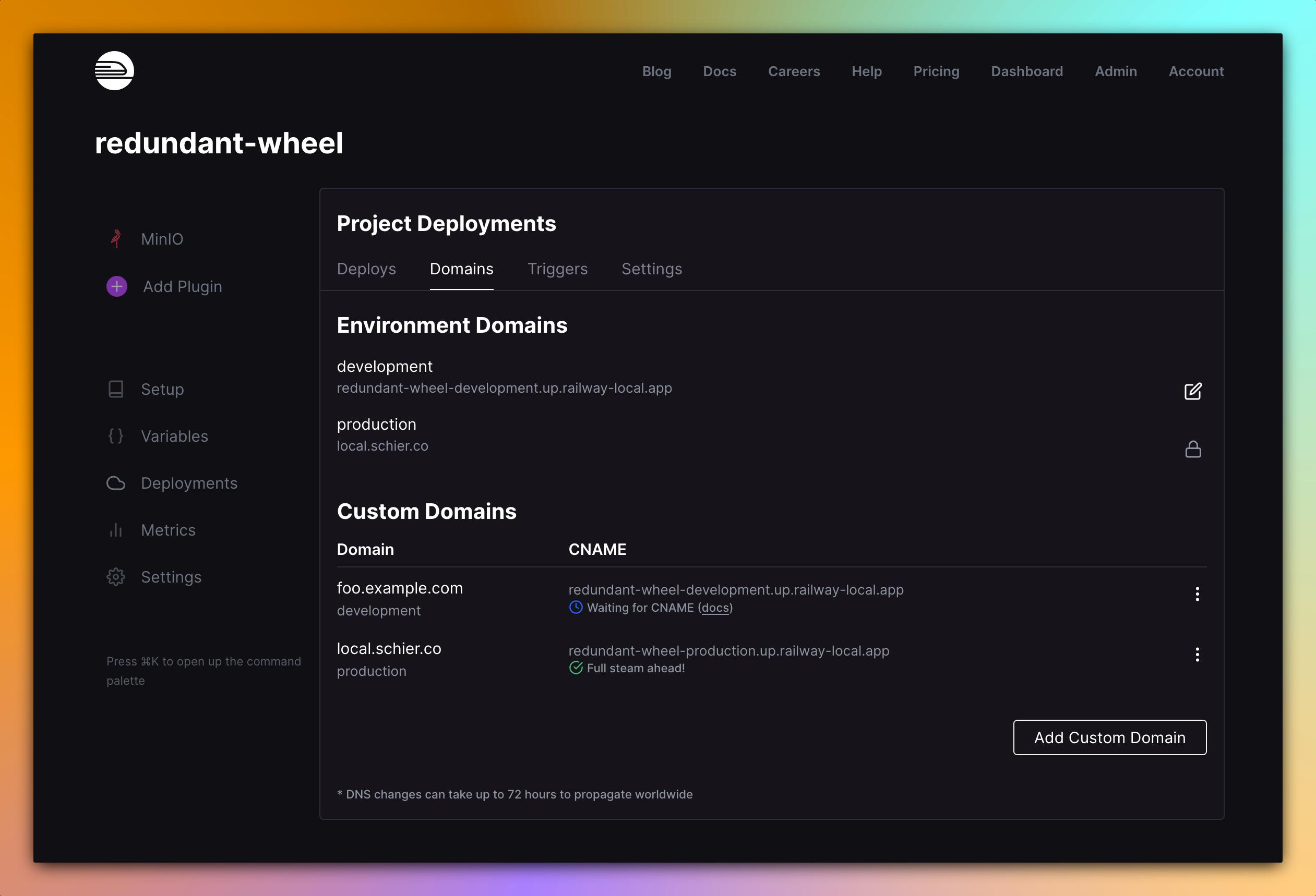Screenshot of Custom Domain