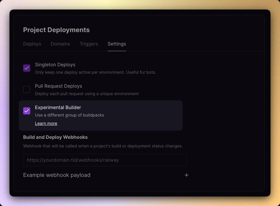 Screenshot of enabling the experimental builder setting