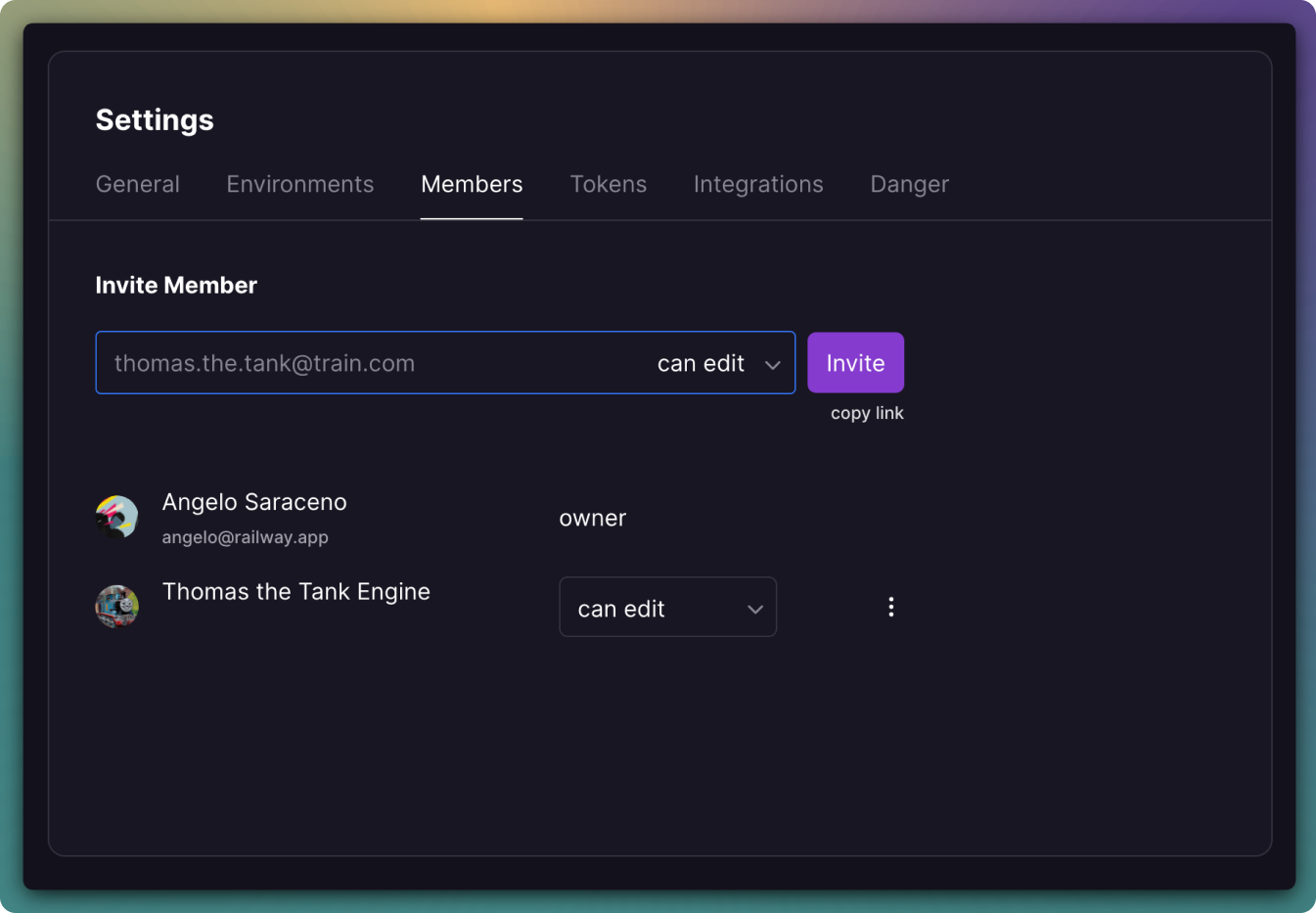 Screenshot of Project Team Members