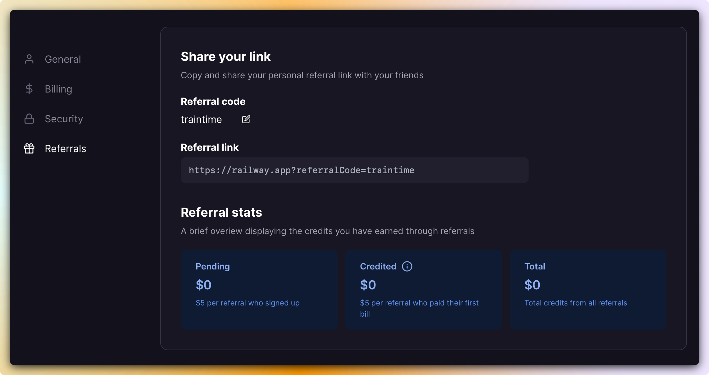 Screenshot of Referrals Page