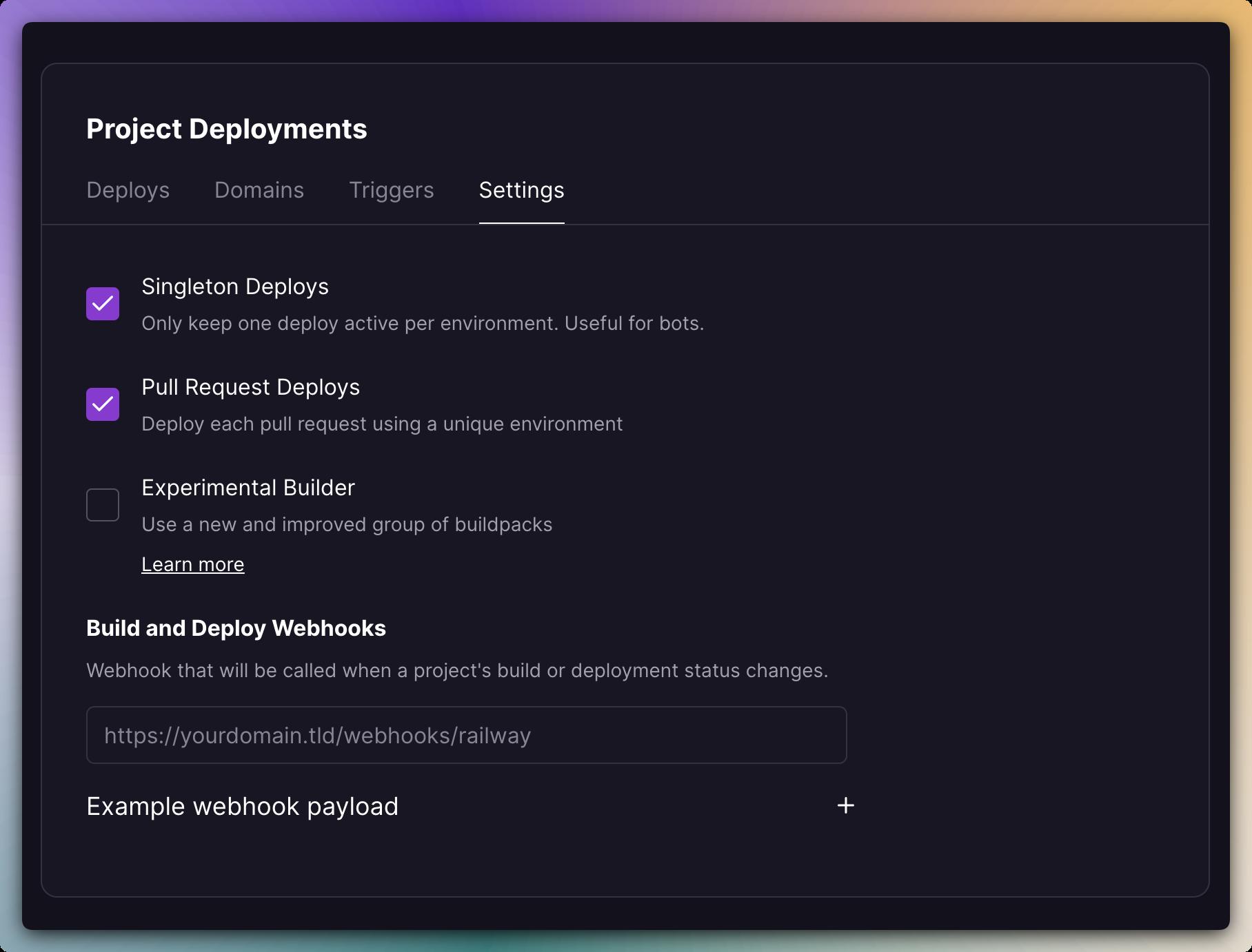 Screenshot of Deploy Options