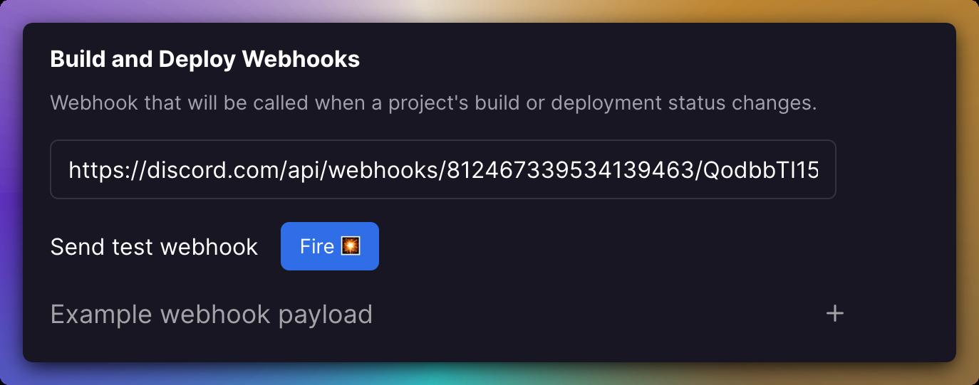 Screenshot of Webhooks Menu