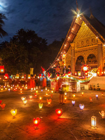 Colorful lanterns in front of a buddhist temple