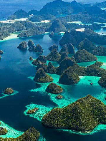 Islets in blue water