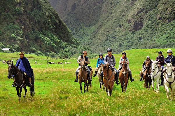 Bunch of people riding horses