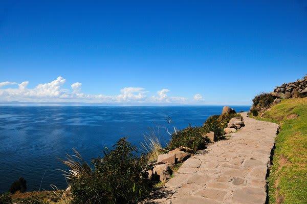 Walking path Silustani Lake Titicaca
