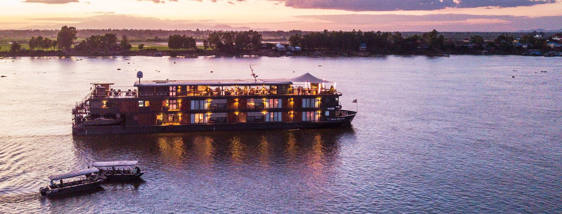 Aqua Mekong aerial view during sunset