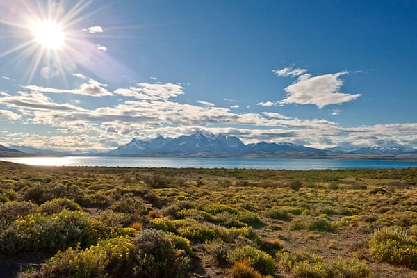 Patagonia scenery mountains in distance
