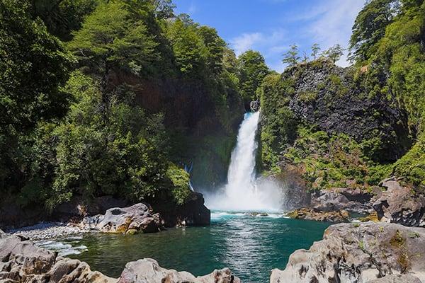 Waterfall Lake District chile