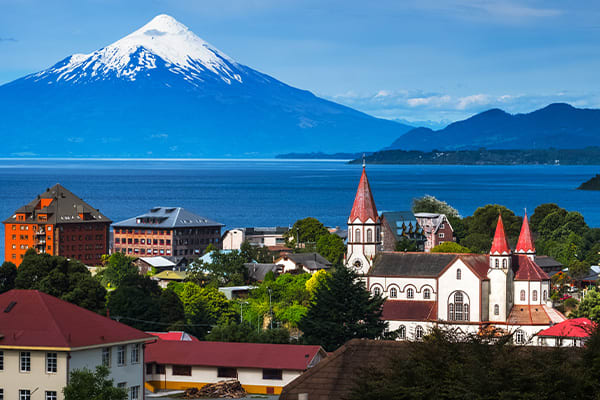 Pucon Chile City with Volcano Behind
