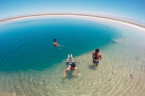 Swimming in oasis pool Atacama
