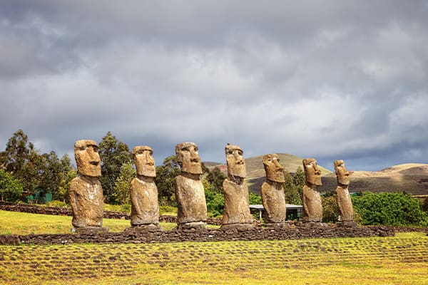 Ahu Akivi which features seven re-erected moai