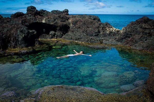 take a dip in tidal pool Rapa Nui
