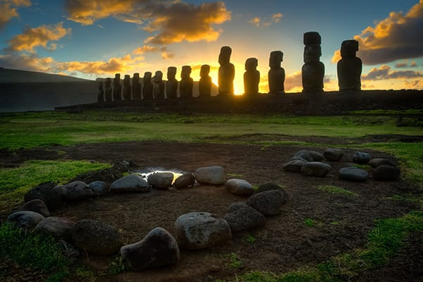 largest restored Ahu on Easter Island and features 15 moai