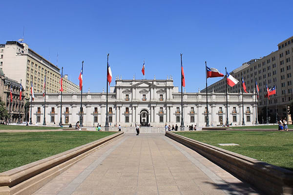 building with chilean flags