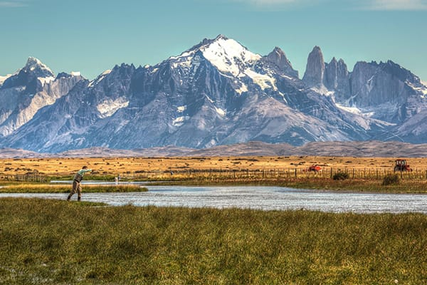 Mountain Range Torres Del Paine with lake in front