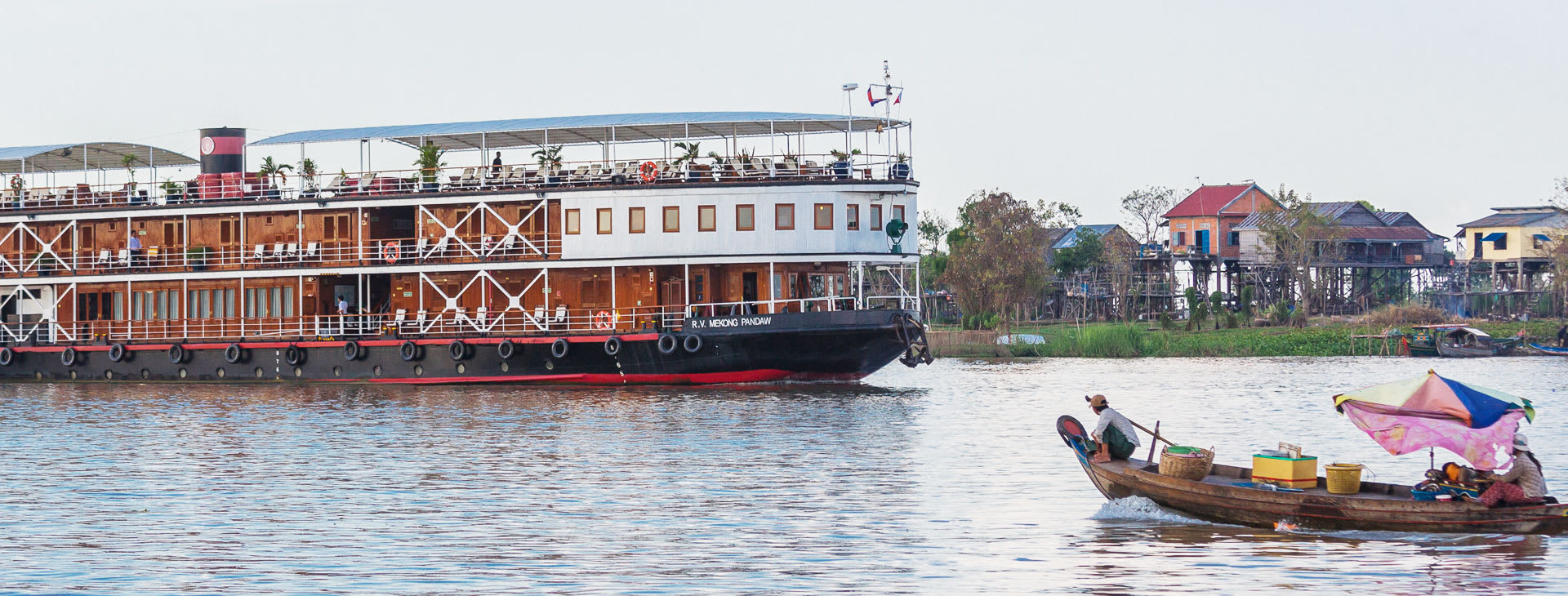 Mekong Pandaw boat cruising the Mekong