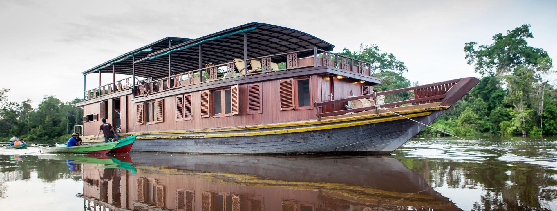 Boat on the riverin Borneo