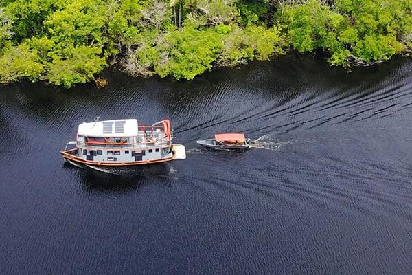 ecoboat navigating manaus