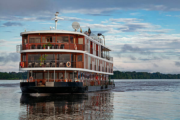 boat navigating on the amazon